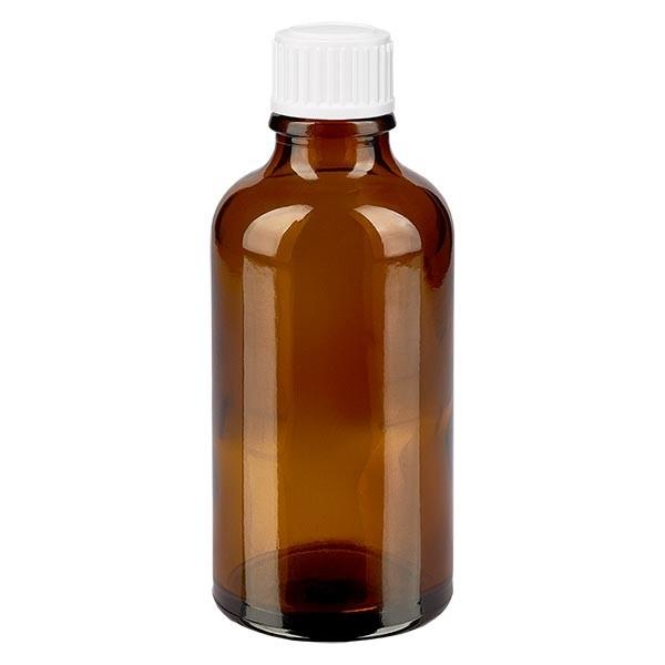 Bruine glazen fles 50ml met wit druppelsluiting 0.8mm St