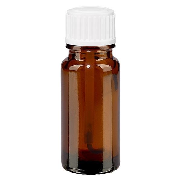 Bruine glazen fles 10ml met wit schroefsluiting kwastje VR