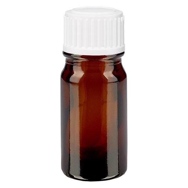 Bruine glazen fles 5ml met wit schroefsluiting globuli uitgietring