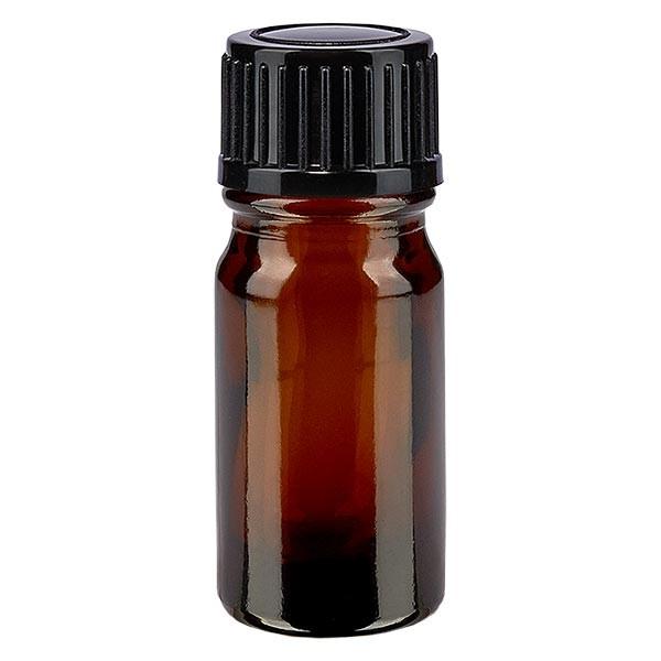 Bruine glazen fles 5ml met zwart schroefsluiting St