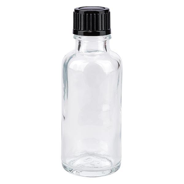 Helder glazen flessen 30ml met zwart schroefsluiting St