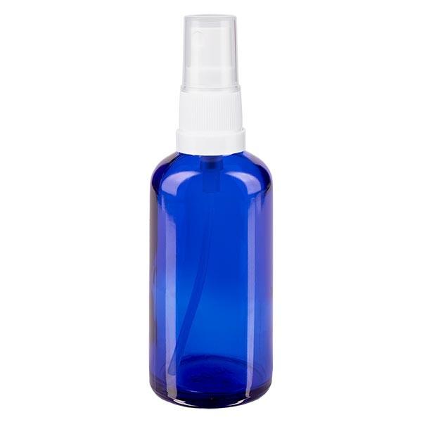 Blauwe glazen flessen 50ml met wit pompverstuiver