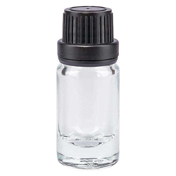 Helder glazen flessen 5ml met zwart schroefsluiting dicht. VR