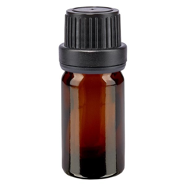 Bruine glazen fles 5ml met zwart druppelsluiting 2mm VR
